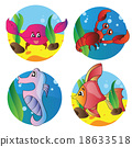 Vector set of images the marine life 18633518