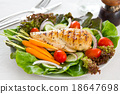 Chicken steak with salad 18647698