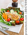 Chicken steak with salad 18647699