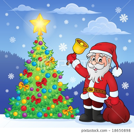 Santa Claus With Bell By Christmas Tree Stock Illustration
