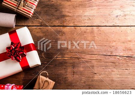 Stock Photo: Christmas presents on a table