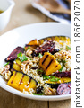 Quinoa with grilled pumpkin and beetroot salad 18662070
