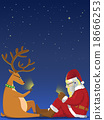 Santa and reindeer playing smartphone 18666253