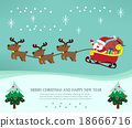 Christmas card with santa claus and his reindeer 18666716