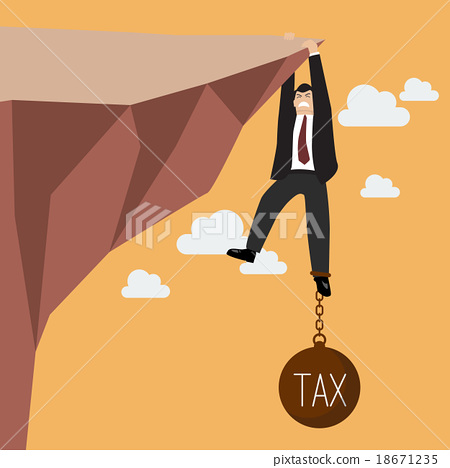 Businessman hold on the cliff with tax burden 18671235