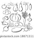Vegetables Outline Pictograms Set 18671311