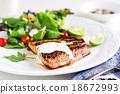 Glazed Salmon with salad 18672993