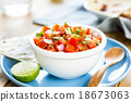 Tomato salsa with tortilla and toast 18673063