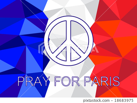 pray for paris with peace symbol background stock illustration