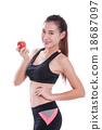 Fitness woman holding apple 18687097