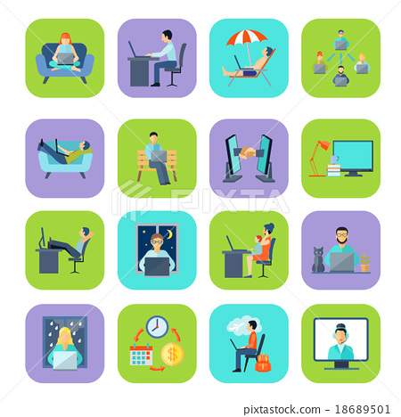 Freelance Flat Color Icon Set 18689501