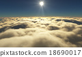 Cloudy sunrise while flying above the clouds. 18690017
