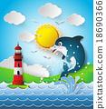 dolphin in sea on the sunlight. 18690366