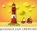 Vector illustration  lighthouse with seascape 18690380