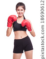 Fitness woman with the red boxing gloves 18690612