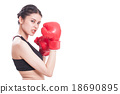 Fitness woman with the red boxing gloves 18690895