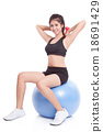 woman sport training with exercise ball 18691429