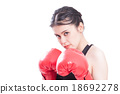 Fitness woman with the red boxing gloves 18692278
