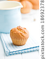 sweet muffins on kitchen table 18692378