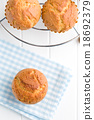 sweet muffins on kitchen table 18692379