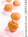 sweet muffins on kitchen table 18692380