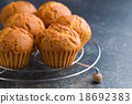 sweet muffins on kitchen table 18692383