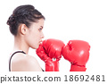Fitness woman with the red boxing gloves 18692481