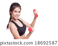 Sport woman doing exercise with lifting weights 18692587