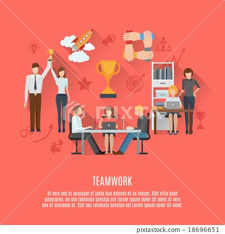 Business teamwork concept flat poster 18696651