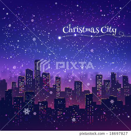 Night Christmas cityscape 18697827