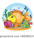 Illustration of a happy goldfish  18698024