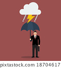 Businessman with umbrella in storm 18704617