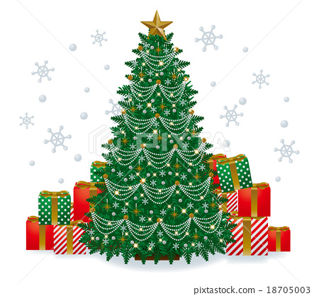 Christmas Tree Illustration.Christmas Tree And Gifts Illustration Stock Illustration
