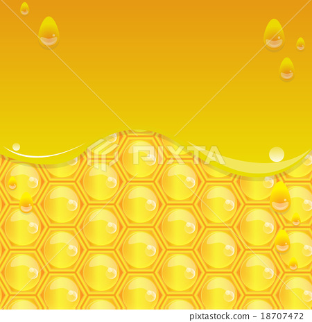 Glossy yellow background with honeycomb 18707472