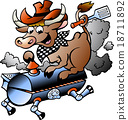 Vector illustration of an Cow riding a BBQ barrel 18711892