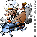 illustration of an Chef  Cow riding a BBQ barrel 18711893