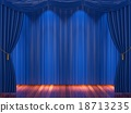 Stage with  blue curtains and spotlight. 18713235