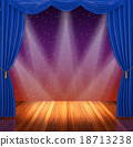 Stage with  blue curtains and spotlight. 18713238