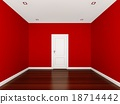 red wall in a empty room 18714442