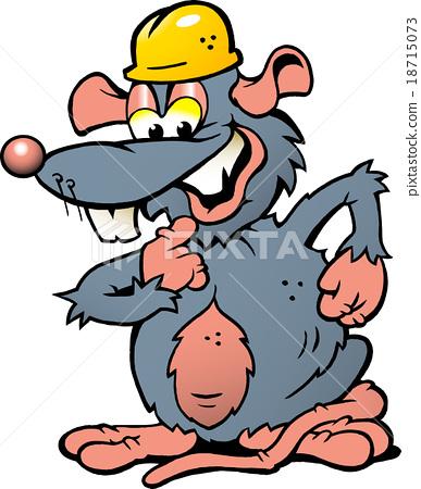 Happy Smiling Rat with yellow Helmet 18715073