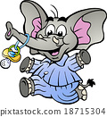 Happy Baby Boy Elephant in Pajamas with a Pacifier 18715304