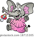 Happy Baby Girl Elephant in Pajamas with Pacifier 18715305