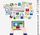 business concept icon background with tablet 18717248
