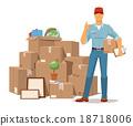 Move service man Ok hand box vector illustration 18718006