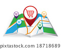 Pin Pointer with shopping cart symbol on Map icon 18718689