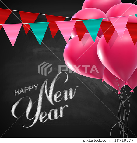 Happy New Year Lettering Chalk Composition 18719377