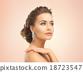 woman wearing shiny diamond earrings 18723547