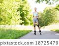woman, roller, skates 18725479