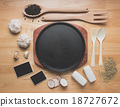 kitchen utensils on wooden table from above 18727672