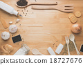 kitchen utensils on wooden table from above 18727676